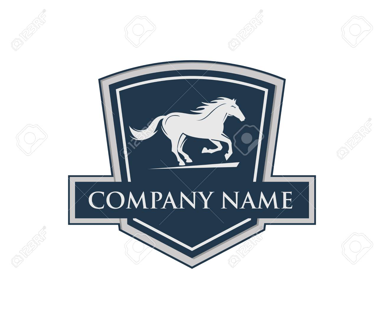 Running Horse With Shield Emblem Crest Vector Logo Design Template