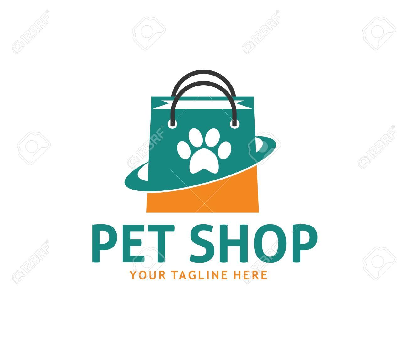Online pet shop logo concept design template