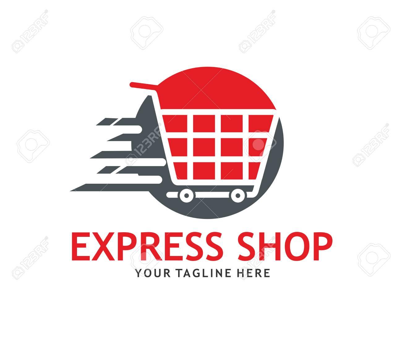 Express Online Shop Logo Concept Design Template Royalty Free