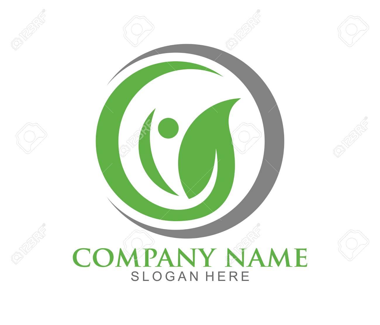 nature herbal medicine healthy people wellness vector logo design