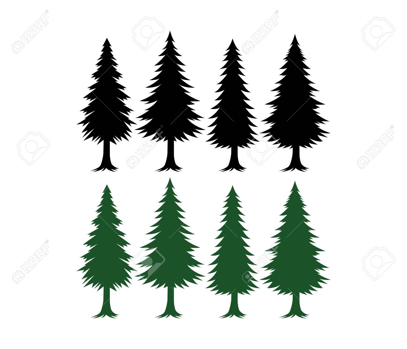Pine Tree Silhouette Set Vector Template Green And Black Royalty Free Cliparts Vectors And Stock Illustration Image 103250841 Forest pine, fir and spruce trees cards with copy space for xmas and new year winter. pine tree silhouette set vector template green and black