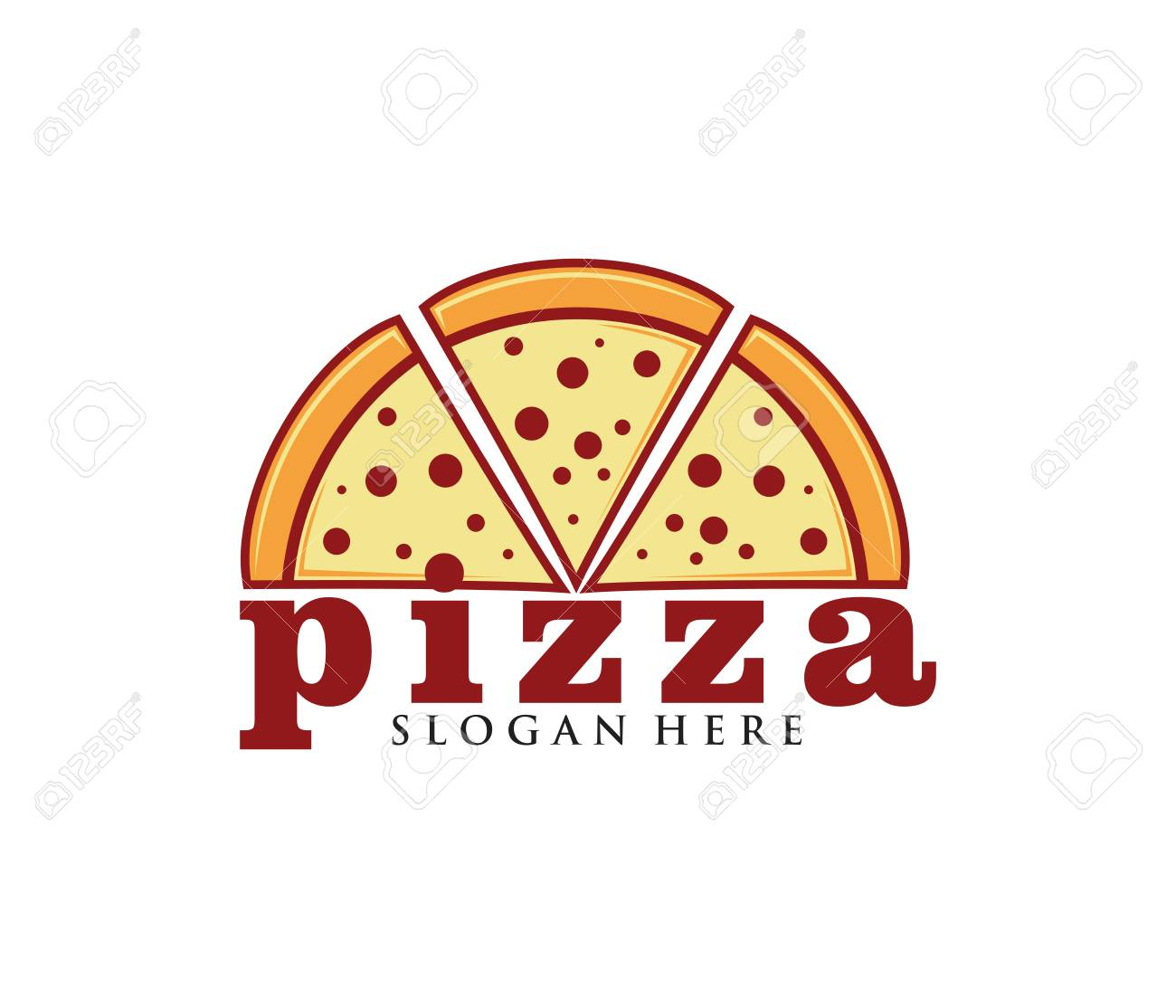 Pizza Vector Icon Logo Design For Restaurant And Cafe Bistro Royalty