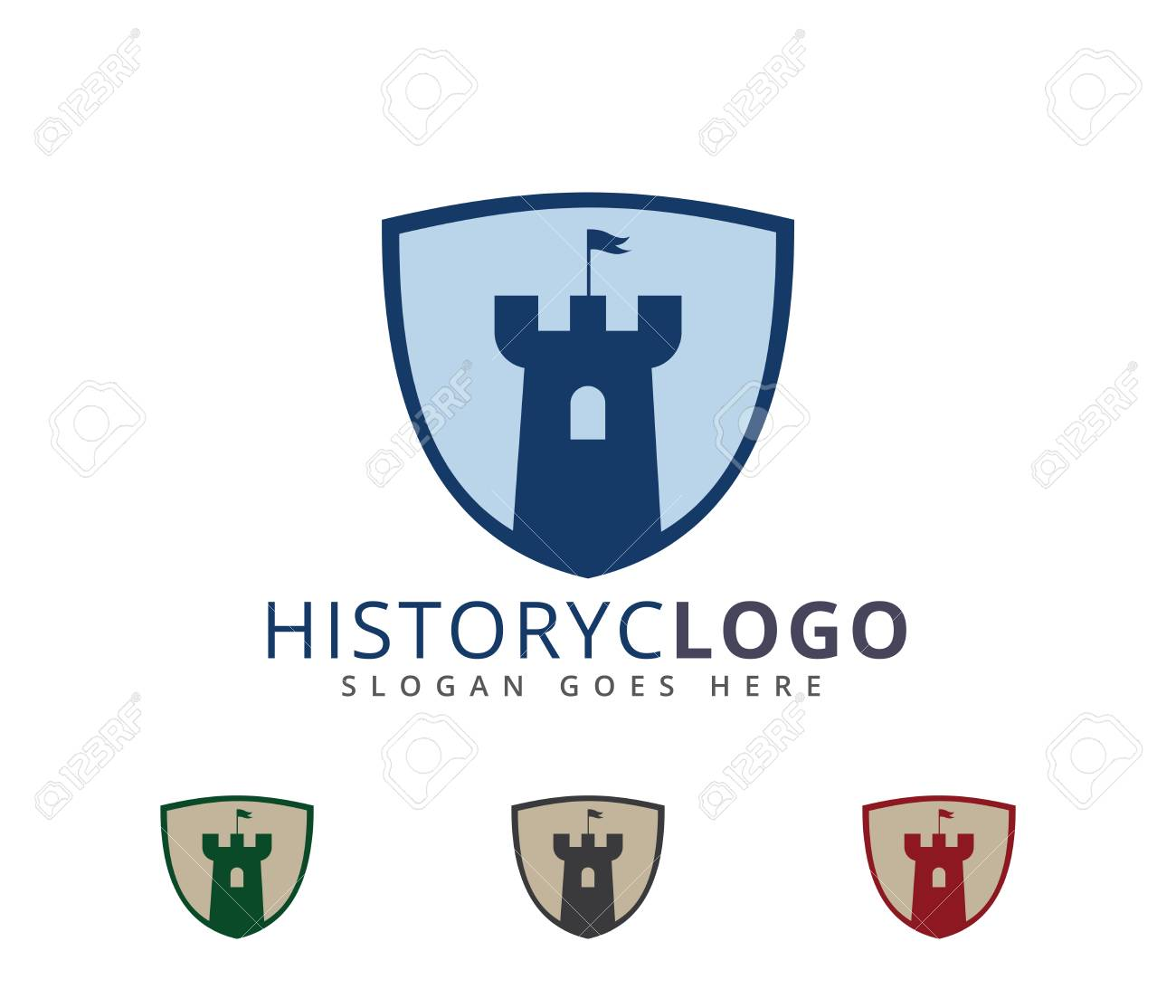 Castle Fortress Stronghold Vector Icon Logo Design Template Royalty
