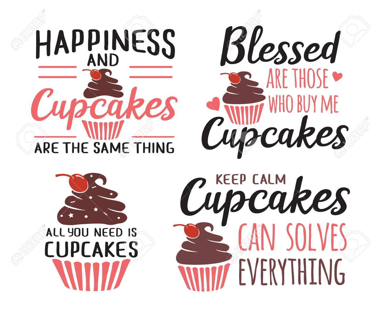 dc28121d cupcakes baking funny quote saying vector design template set Stock Vector  - 105525458