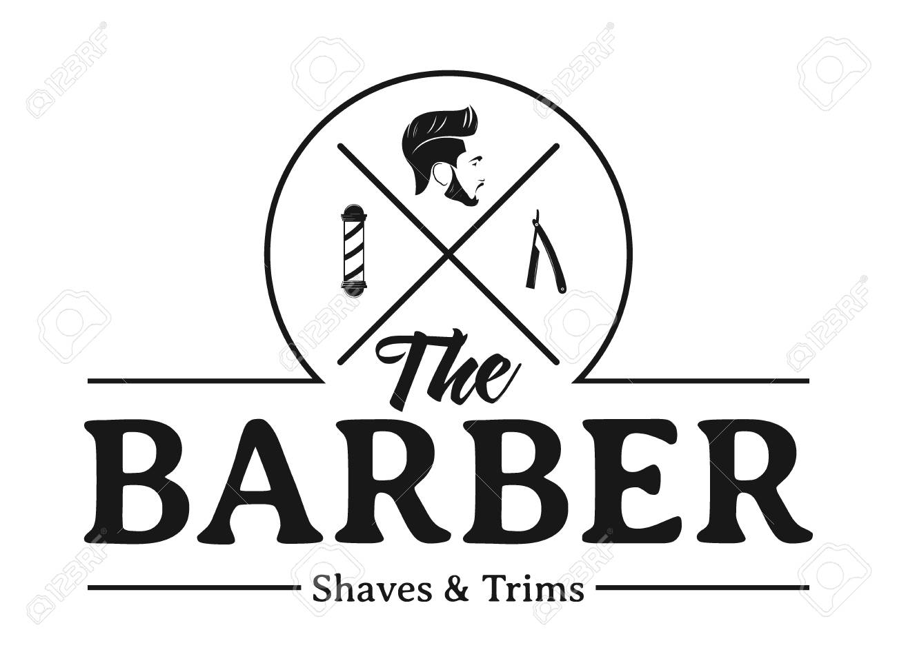 Men Barbershop Hairstylist Banner Logo Badge Vector Design Template Royalty Free Cliparts Vectors And Stock Illustration Image 117709379