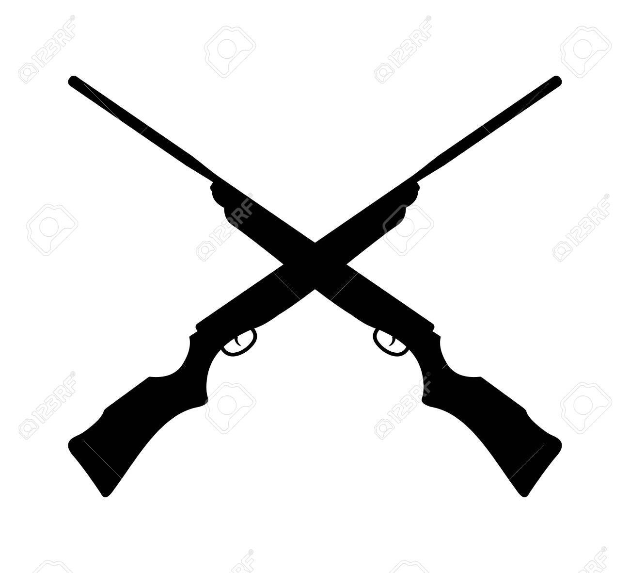 crossed rifle gun silhouette logo design template inspiration for hunting outdoor extreme sport - 126602656