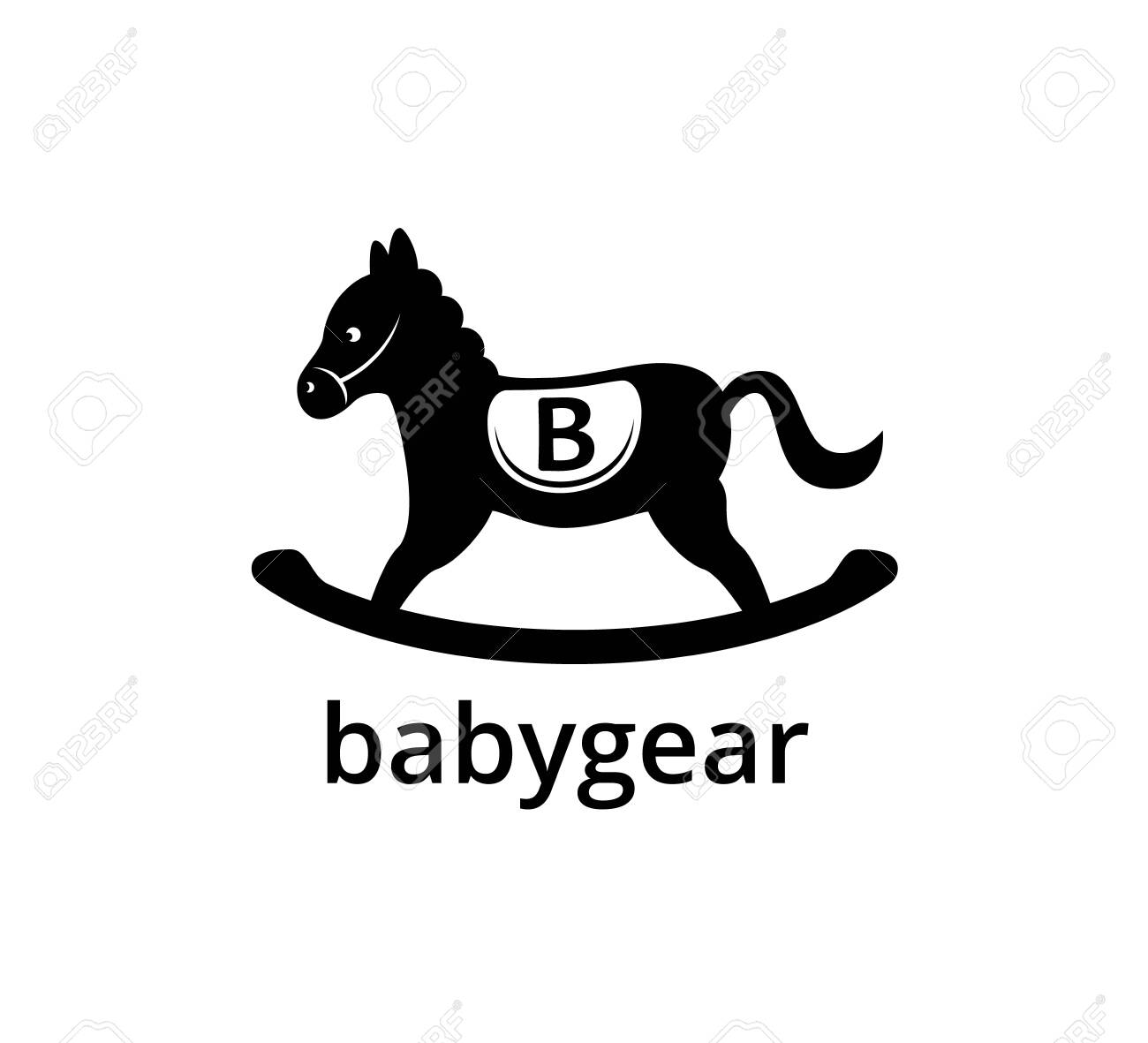 Wooden Black Horse With Letter B For Kids Toy Business Vector Royalty Free Cliparts Vectors And Stock Illustration Image 131291244