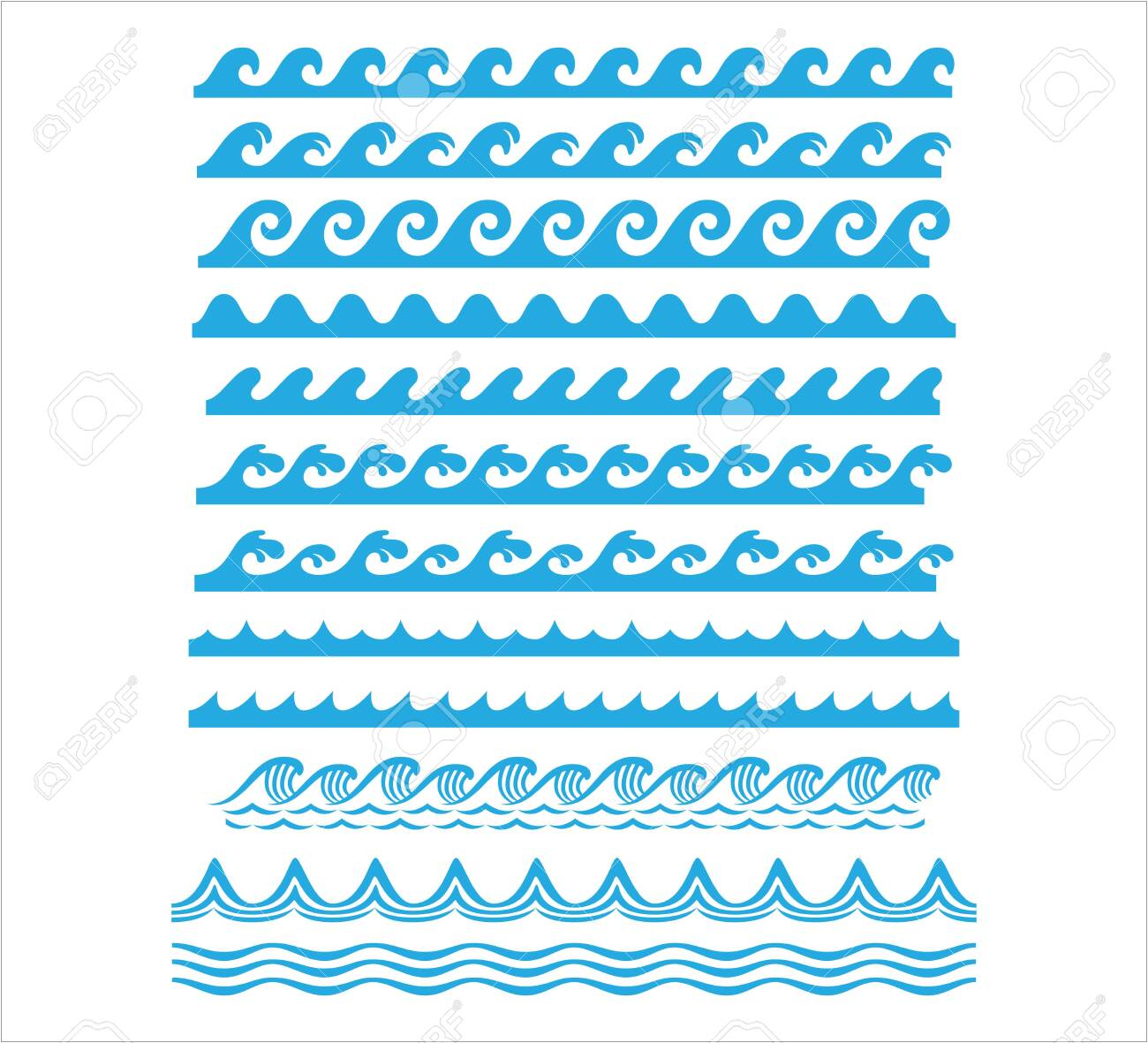 rolling ocean sea wave stream line seamless pattern vector graphic design set template - 151702349