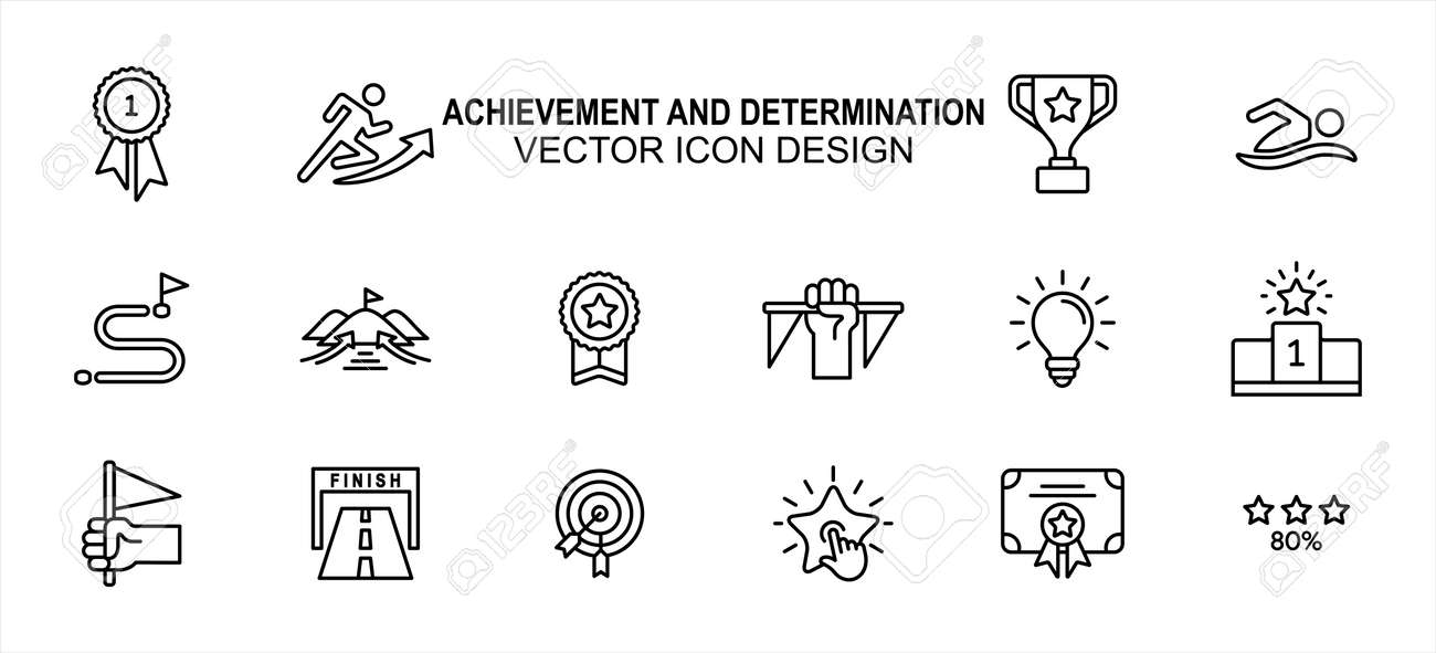 Simple Set of achievement and determination Related lineal Vector icon user interface graphic design. Contains such Icons as effort, goal, trophy, finish line, podium, certificate and more - 168493200