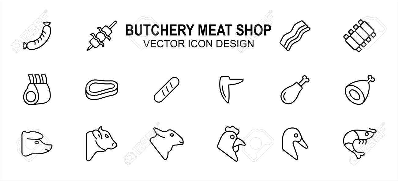 Simple Set of butchery meat shop Related Vector icon user interface graphic design. Contains such Icons as sausage, satay, bacon, ribs, beef, drumstick, chicken, lamb, duck, shrimp and more - 168493207