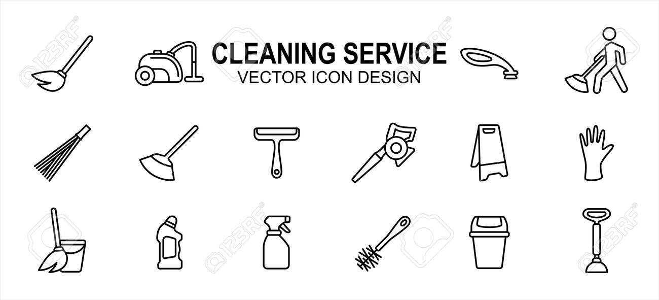 Simple Set of cleaning and maintenance service Related Vector icon user interface graphic design. Contains such Icons as broom, mop, wiper, blower, wet sign, glove, sprayer, trash bin - 168493205