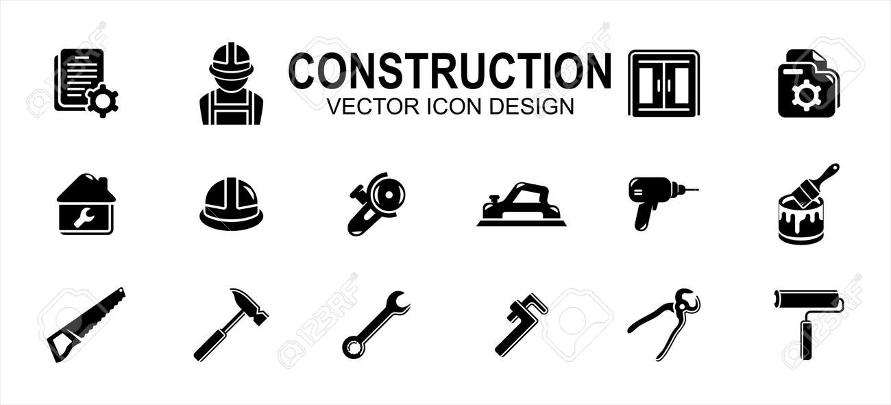 Simple Set of home job build construction Related Vector icon user interface graphic design. Contains such Icons as job description, folder, paint, helmet, hammer, planer, saw, wrench, drill and more - 168493209