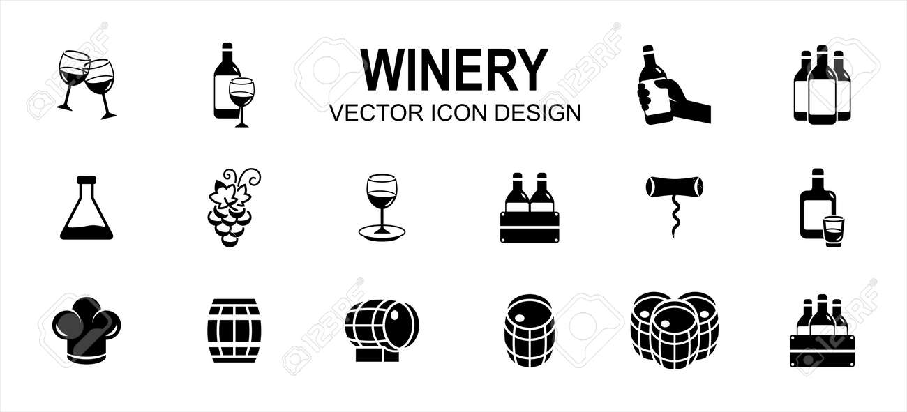 Simple Set of winery drink Related Vector icon user interface graphic design. Contains such Icons as wine, grape, beverage, premium, distillery, formulation, alcohol, fermentation, aging, bottle - 168493214