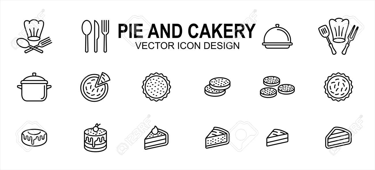 Simple Set of pie and cakery Related Vector icon user interface graphic design. Contains such Icons as pie, sliced cake, pudding, dessert, chef hat, spoon, fork, knife, - 168493211
