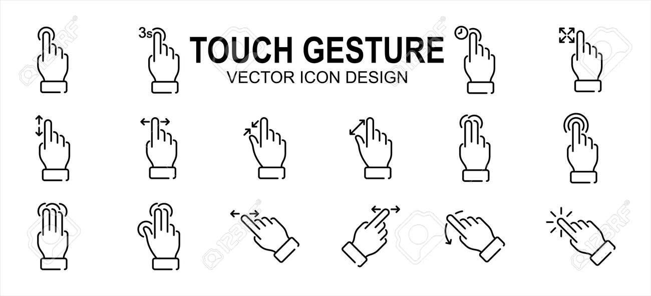 Simple Set of finger touch gesture Related Vector icon user interface graphic design. Contains such Icons as touch, gesture, navigation, touchscreen, finger tip, pinch, control, press, slide, tap, - 168493213