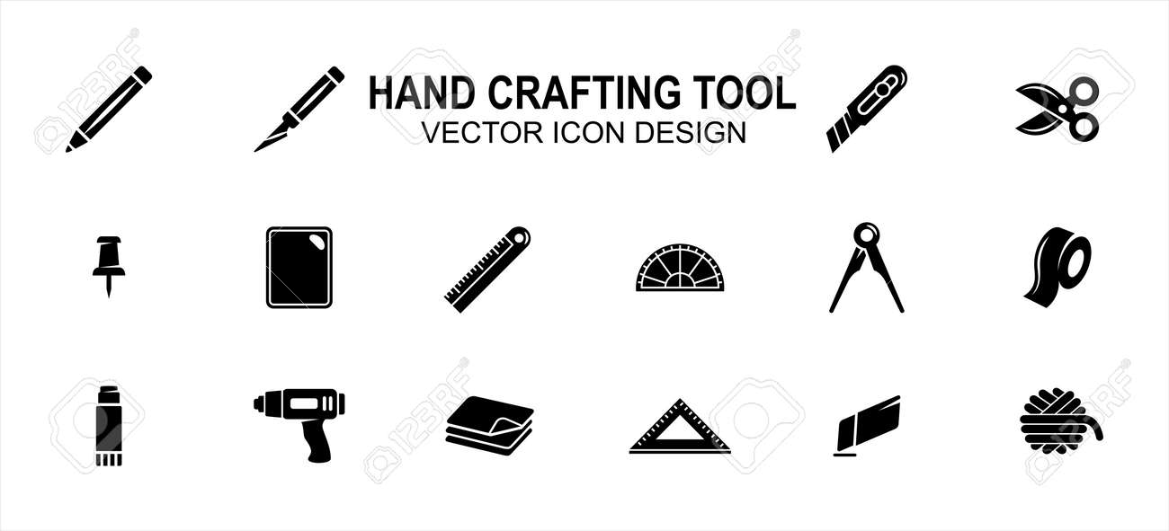 Simple Set of creativity hand crafting tools Related Vector icon user interface graphic design. Contains such Icons as pencil, blade pen, scissor, pin, ruler, board, tape, glue gun, yarn, paper - 168493217