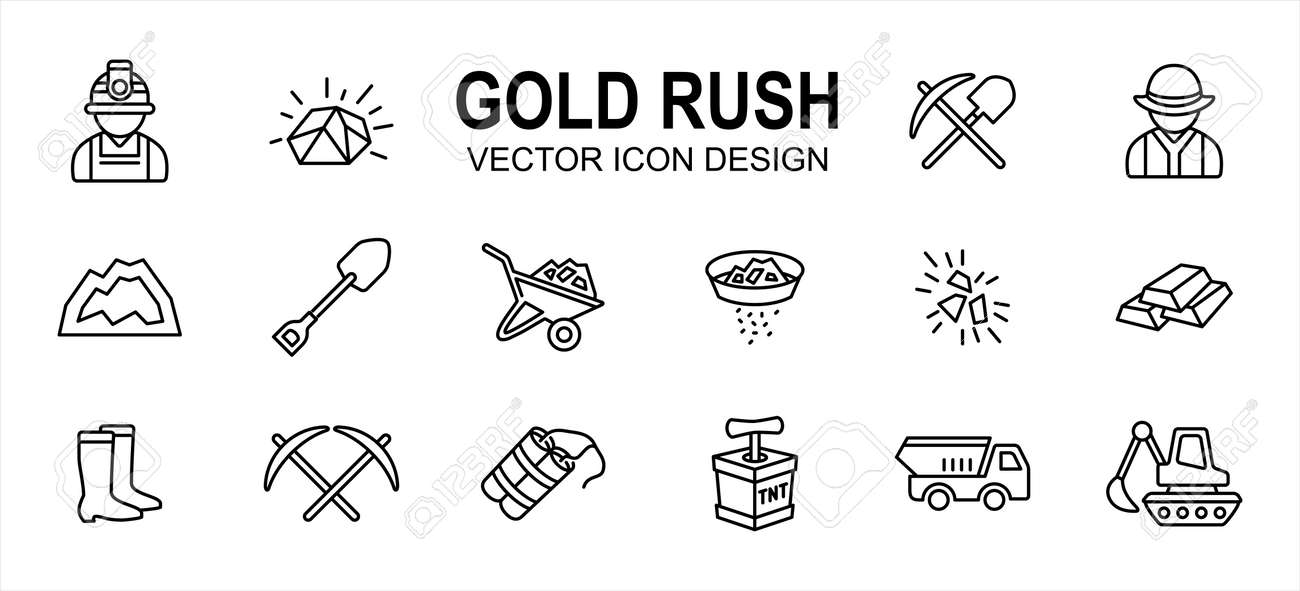 Simple Set of gold rush mining Related Vector icon user interface graphic design. Contains such Icons as gold nugget, spade, worker, job, mountain, wheelbarrow, pan, panning, dynamite, truck, boots - 168493325