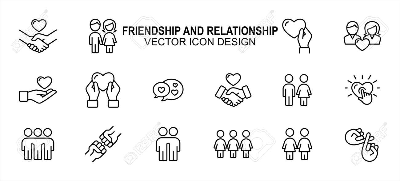 Simple Set of friendship and relationship Related Vector icon user interface graphic design. Contains such Icons as handshake, holding hand, giving love, receiving, chat, sisterhood, brotherhood, - 168493330