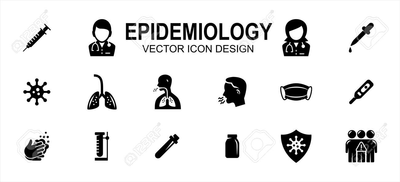 Simple Set of epidemiology contagious disease Related Vector icon user interface graphic design. Contains such Icons as syringe, doctor, viral, virus, lunge, mask, cough, washing hand, thermometer - 168493332