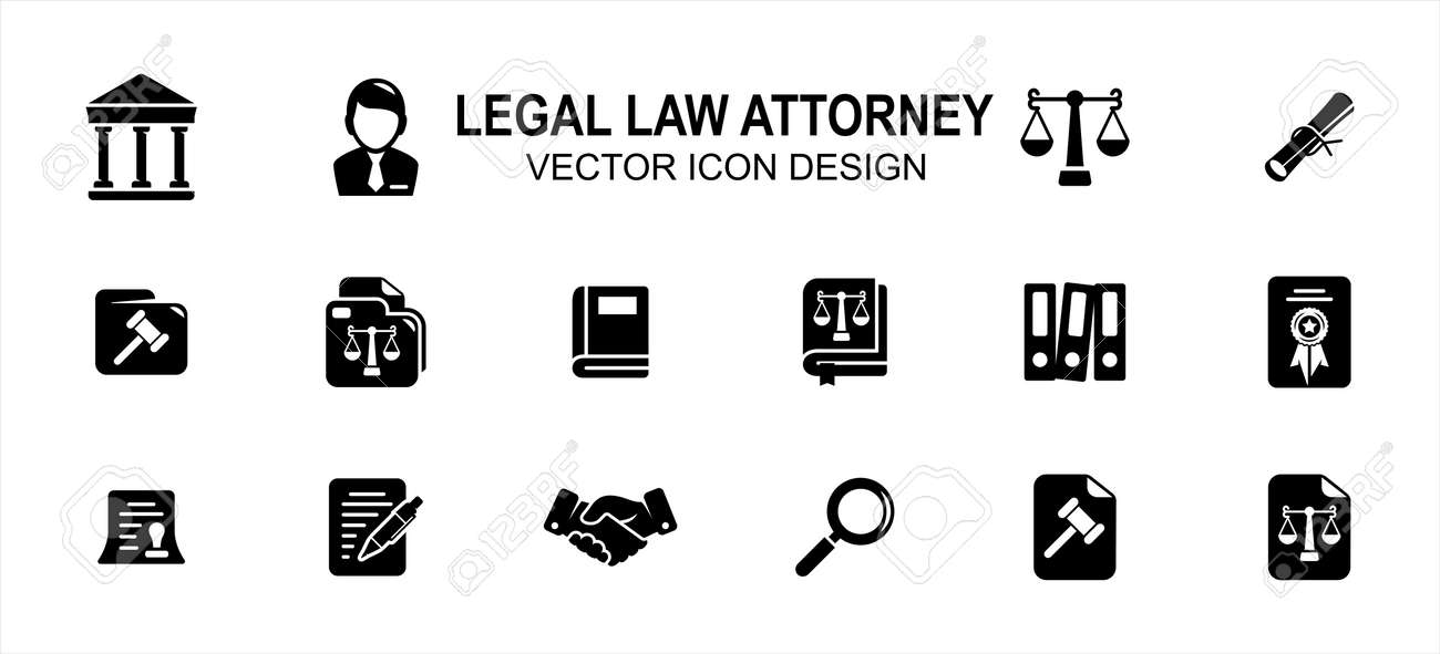 Simple Set of legal law attorney Related Vector icon user interface graphic design. Contains such Icons as court, judge, justice scale, scroll, constitution, hammer, handshake, book, writing, - 168493341