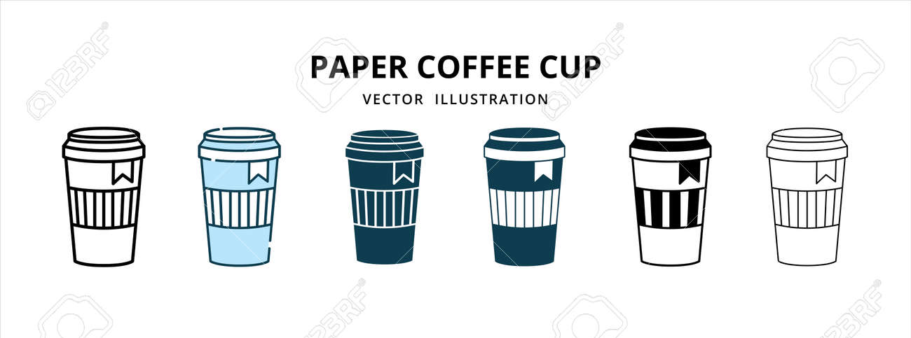 various paper disposable coffee cup with lid vector logo illustration design template set - 168493384