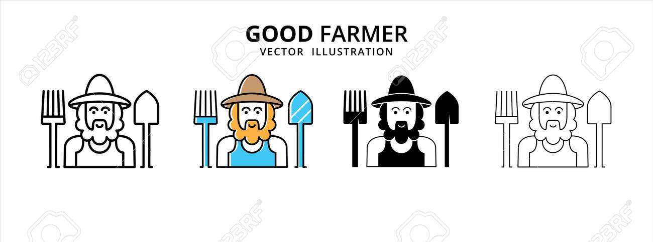friendly smile bearded good farmer vector logo illustration design template set - 168493385