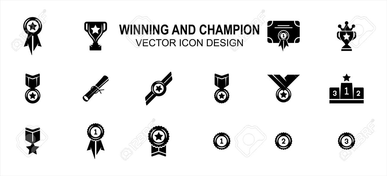 Simple Set of winning champion Related Vector icon user interface graphic design. Contains such Icons as win, victory, champ, medal, trophy, star, starred, certification, certificate, award, podium - 168493387