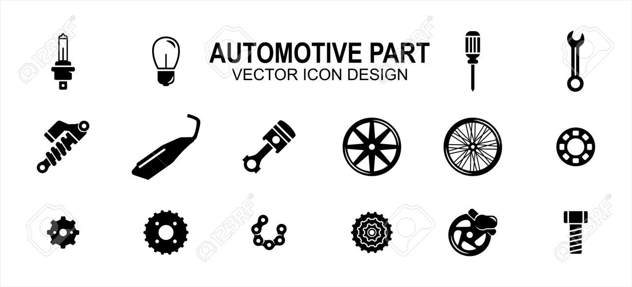 Automotive automobile and motorcycle part related vector icon user interface graphic design. Contains such Icons as light bulb, screwdriver, wrench, shock breaker, suspension, muffler, exhaust - 169744516