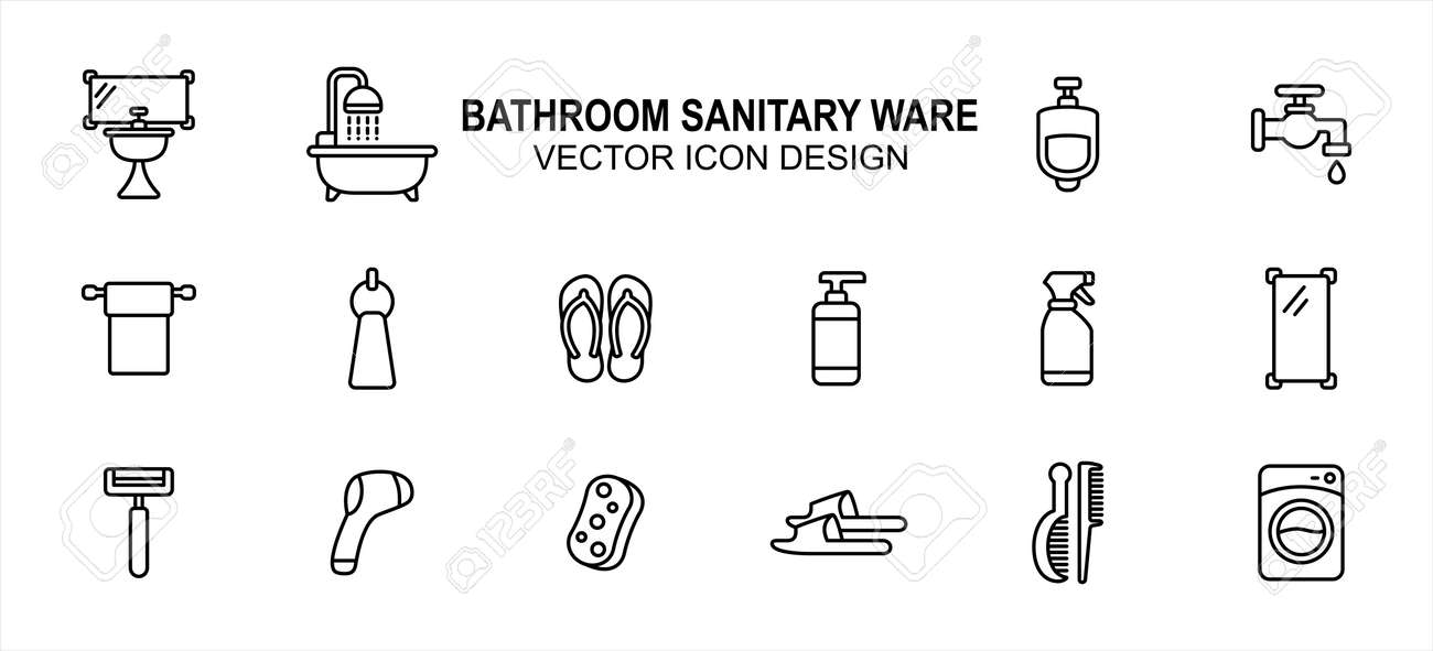 Bathroom and sanitary part related vector icon user interface graphic design. Contains such Icons as washtub, bathtub, urinary, toilet paper, sandal, flip flop, liquid soap, sprayer, mirror, razor - 169744518