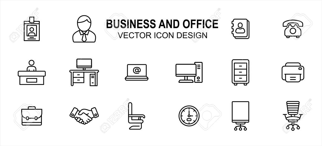 Business finance and office related vector icon user interface graphic design. Contains such Icons as identity card, person, computer desktop, front officer, receptionist, handshake, boss chair, clock - 169744520