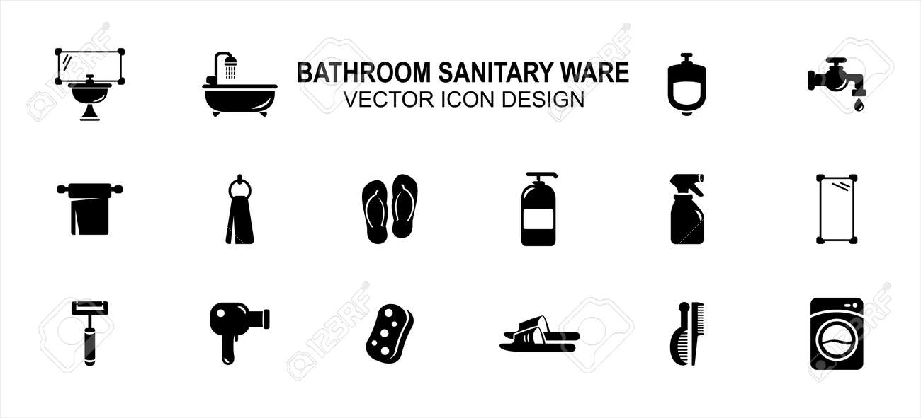 Bathroom and sanitary part related vector icon user interface graphic design. Contains such Icons as washtub, bathtub, urinary, toilet paper, sandal, flip flop, liquid soap, sprayer, mirror, razor - 169744523