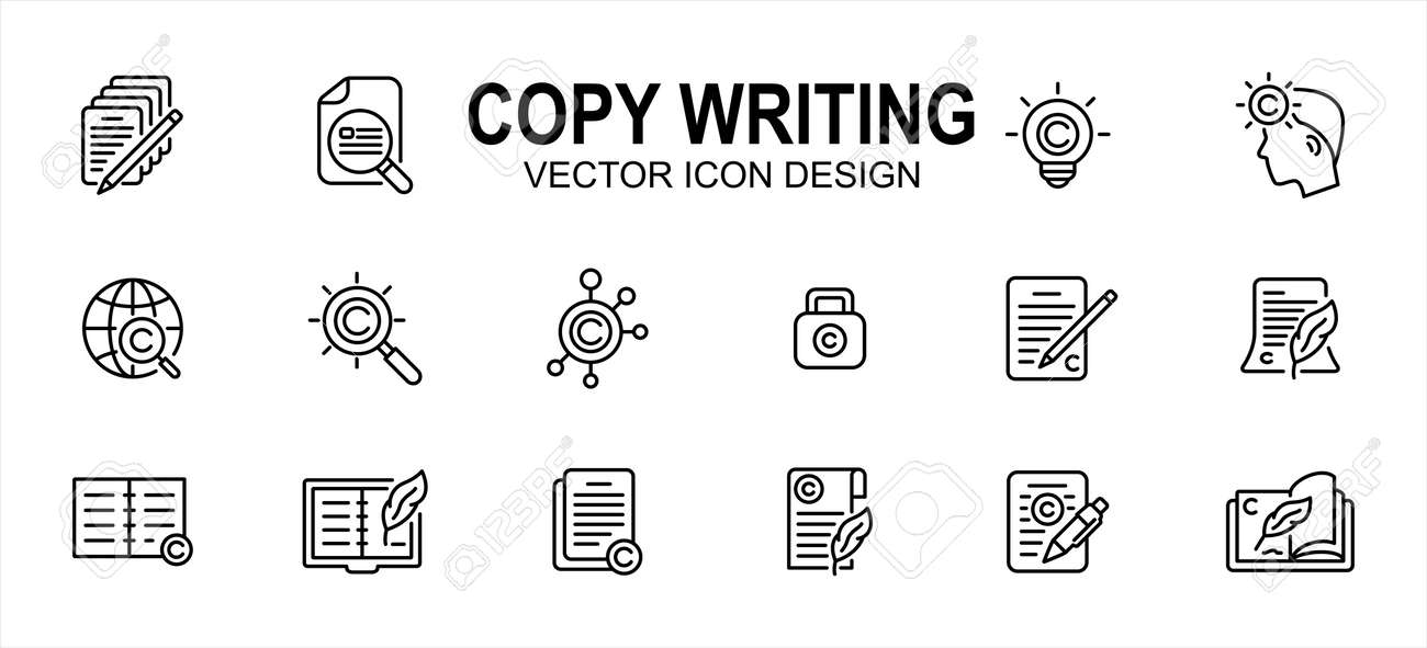 Copy writing and publisher author related vector icon user interface graphic design. Contains such icons as text, write, pencil and paper, copyright, light bulb, quill, book, international,network - 169744544