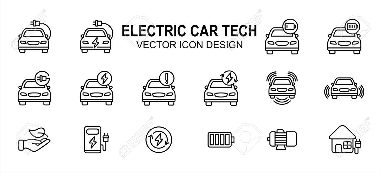 Electric vehicle car technology related vector icon user interface graphic design. Contains such icons as car, electric chord, charging, battery, low, fully charged, sensor, green energy, motor - 169744546