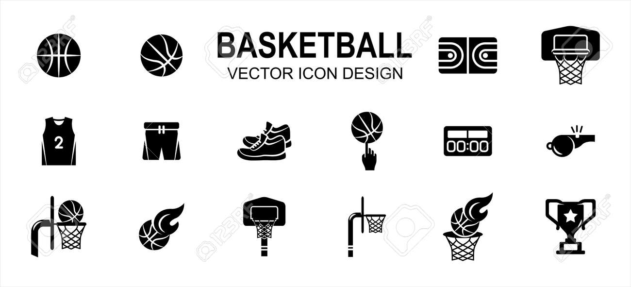 basketball sport related vector icon user interface graphic design. Contains such Icons as basket ball, field, floor, court, uniform, pant, snicker, shoes, score board, fingering, trophy, goal - 169744547