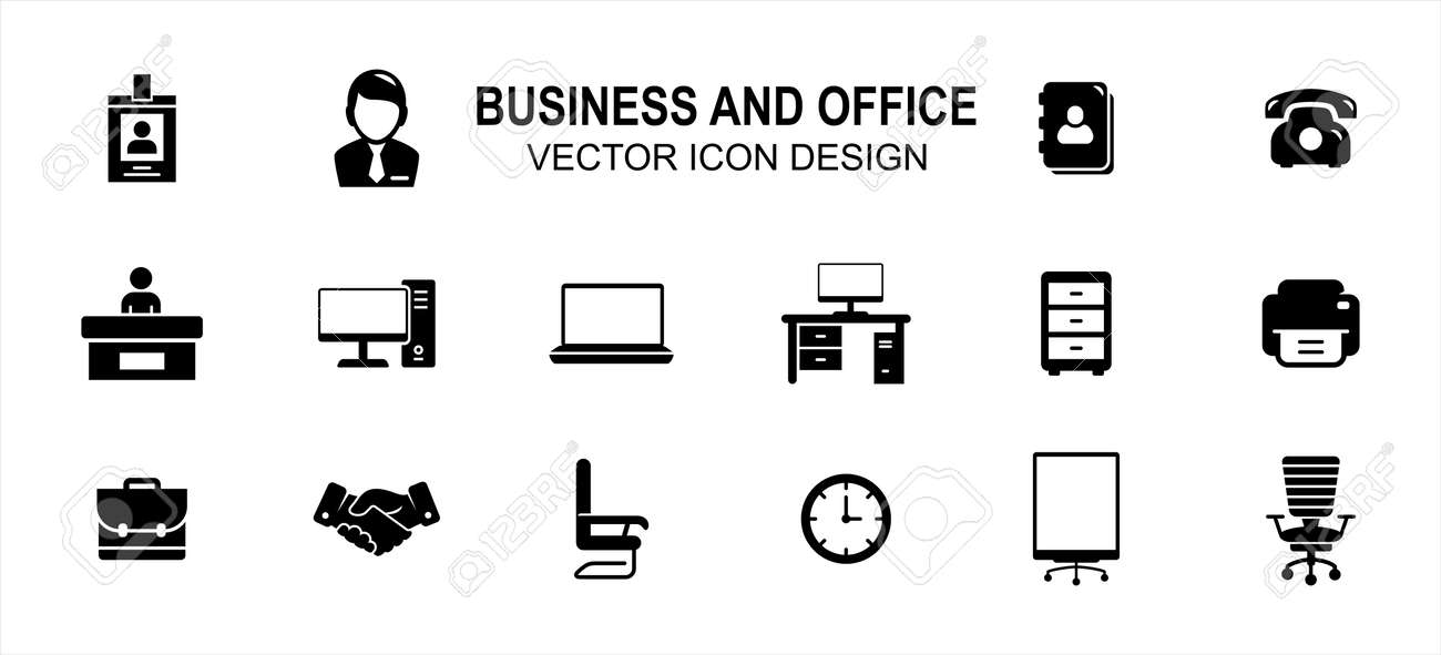 Business finance and office related vector icon user interface graphic design. Contains such Icons as identity card, person, computer desktop, front officer, receptionist, handshake, boss chair, clock - 169744549