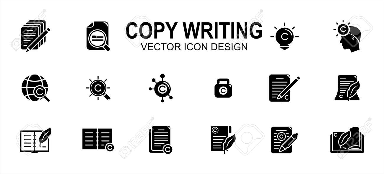 Copy writing and publisher author related vector icon user interface graphic design. Contains such icons as text, write, pencil and paper, copyright, light bulb, quill, book, international,network - 169744550