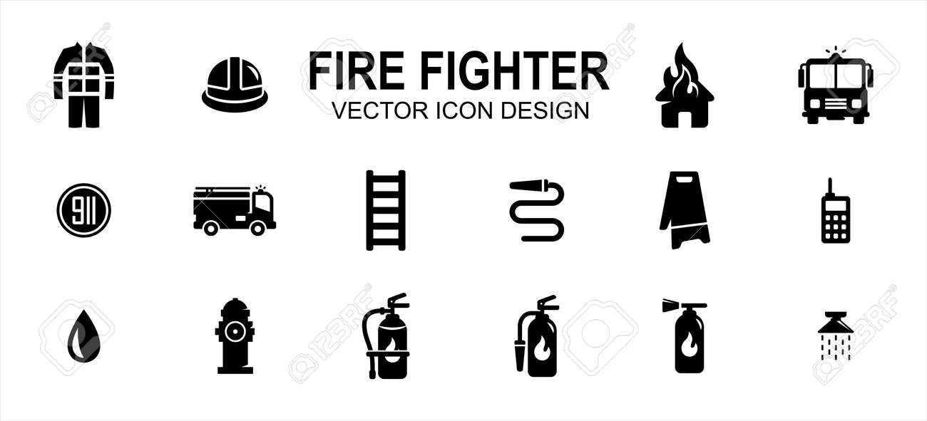 fire fighter department related vector icon user interface graphic design. Contains such icons as office, person, uniform, safety, burning house, fire fighter truck, 911 sign, ladder, water hose - 169744551