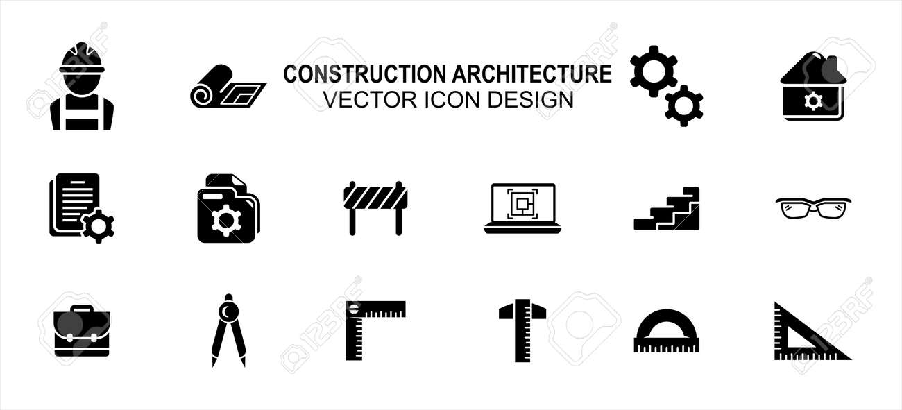 Construction architecture related vector icon user interface graphic design. Contains such icons as worker, labor, blueprint, gear, setting symbol, construction file, laptop, bag, ruler, triangle - 169744553