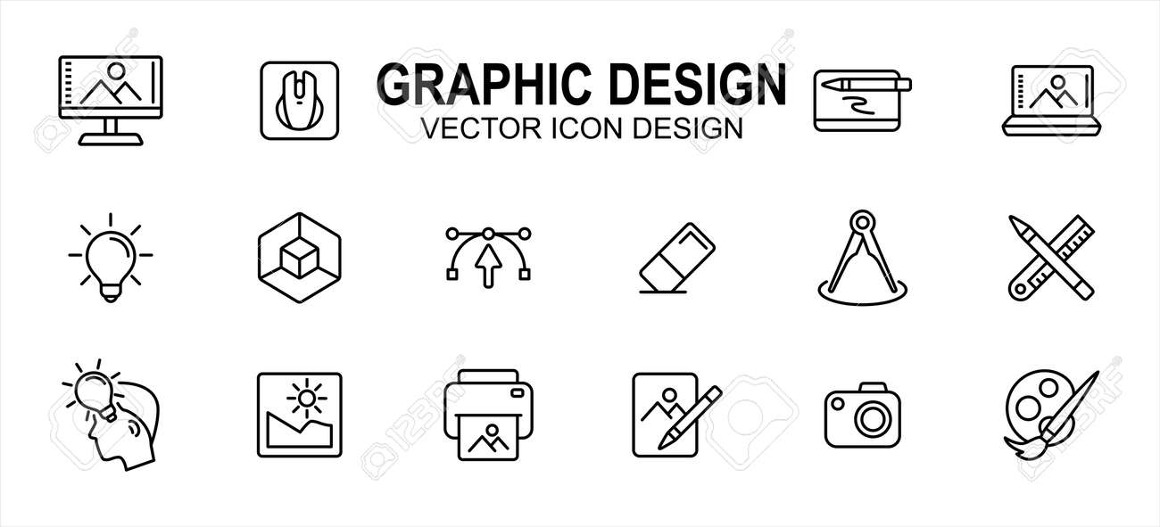 Graphic visual design related vector icon user interface graphic design. Contains such icons as computer, mouse, pen tablet, laptop, idea, light bulb, anchor, handle, eraser, pencil, ruler, photo - 169744555