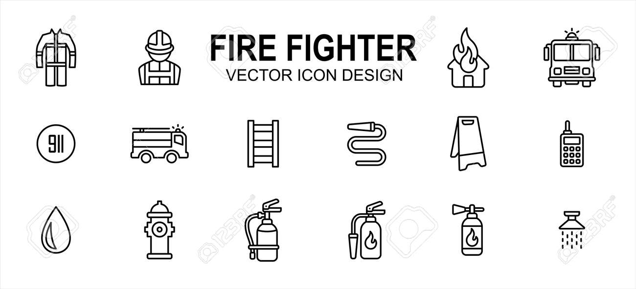 fire fighter department related vector icon user interface graphic design. Contains such icons as office, person, uniform, safety, burning house, fire fighter truck, 911 sign, ladder, water hose - 169744558