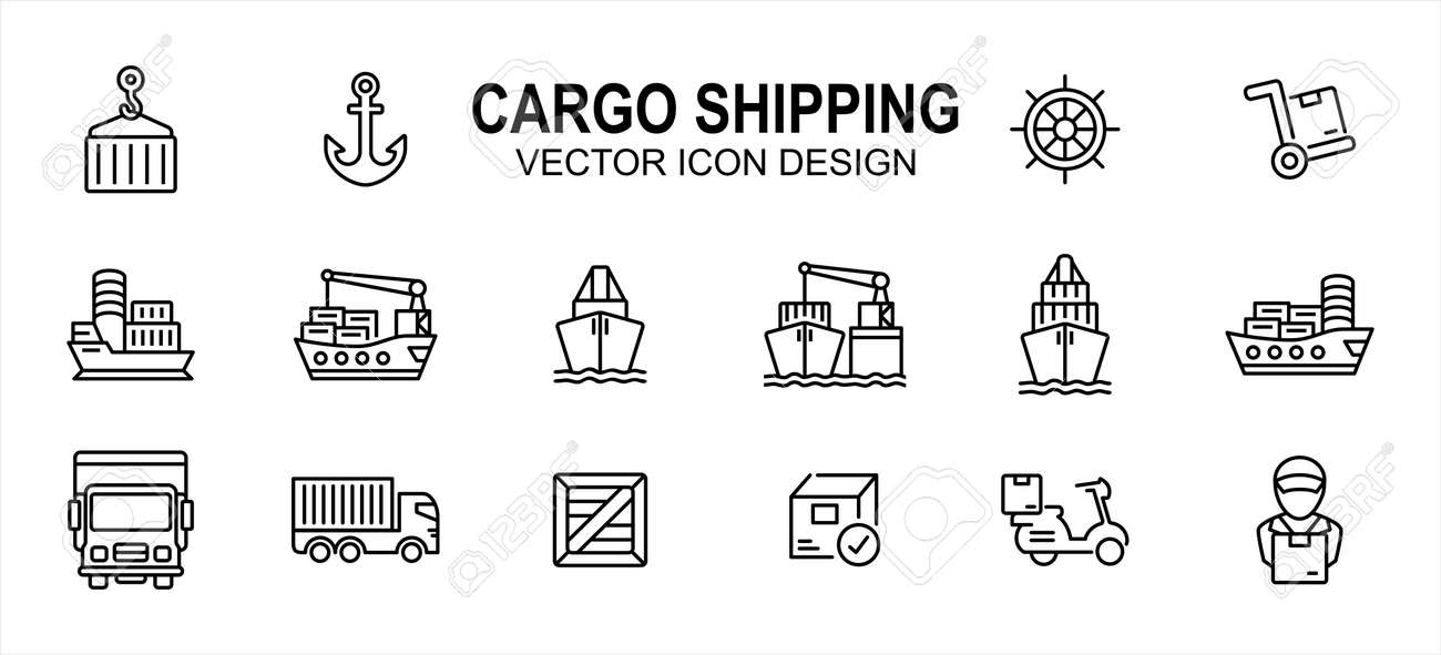 cargo shipping delivery expedition related vector icon user interface graphic design. Contains such icons as ship, vessel, anchor, ship steering wheel, cargo ship, truck, pallet box, harbor loading - 169744560