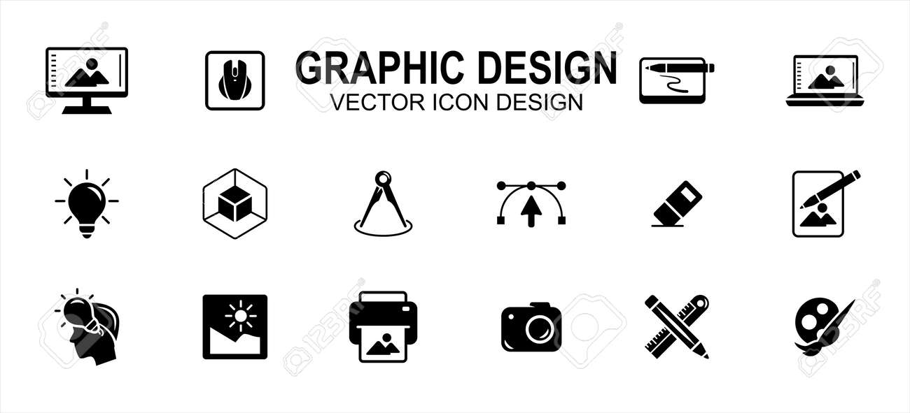 Graphic visual design related vector icon user interface graphic design. Contains such icons as computer, mouse, pen tablet, laptop, idea, light bulb, anchor, handle, eraser, pencil, ruler, photo - 169744561