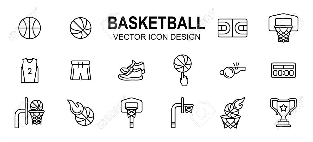 basketball sport related vector icon user interface graphic design. Contains such Icons as basket ball, field, floor, court, uniform, pant, snicker, shoes, score board, fingering, trophy, goal - 169744562