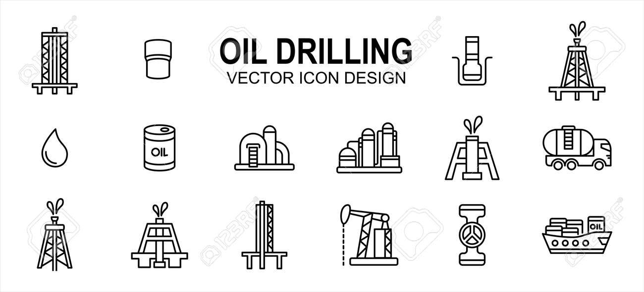 Oil drilling industry related vector icon user interface graphic design. Contains such icons as rig, tower, bor, drill, driller, oil, tank, distillery, pump, truck, pipe, spurt, squirt, valve, - 169744588