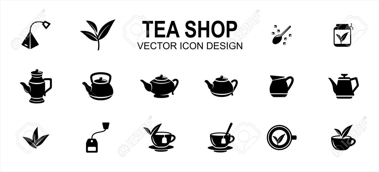 luxury tea shop drink related vector icon user interface graphic design. Contains such icons as tea bag, tea leaf, sugar, brew, brewing, tea cup, assorted teapot, extraction, herb, - 169744589