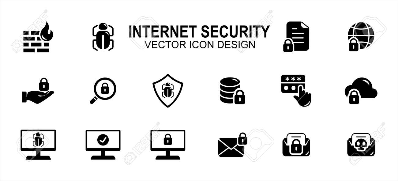 Internet security and safety related vector icon user interface graphic design. Contains such icons as fire wall, bug, document, lock, disc, cloud, web, screen, mail, scam, malware, virus, password - 169744590