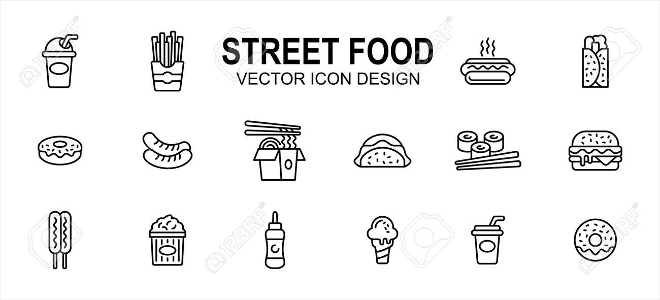 Street food culinary related vector icon user interface graphic design. Contains such icons as drink, beverage, fries, hot dog, taco, kebab, donuts, sausage, noodle, sushi, burger, ice cream, soda - 169744592
