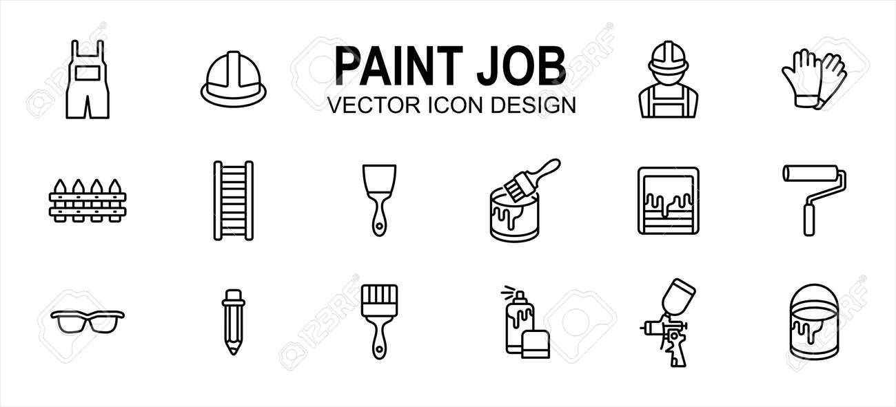 Paint job construction related vector icon user interface graphic design. Contains such icons as wear pack, uniform, helmet, labor, worker, glove, ladder, hand brush, roller, mixer, sprayer, bucket - 169744593