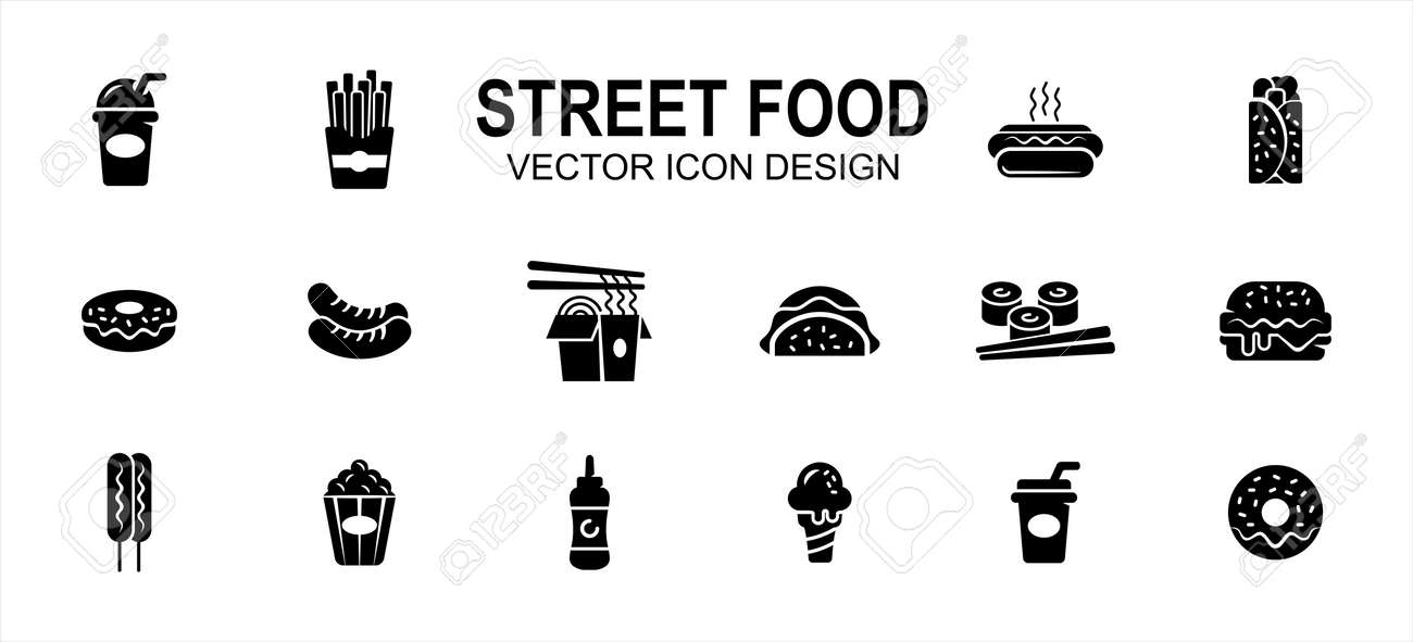 Street food culinary related vector icon user interface graphic design. Contains such icons as drink, beverage, fries, hot dog, taco, kebab, donuts, sausage, noodle, sushi, burger, ice cream, soda - 169744595