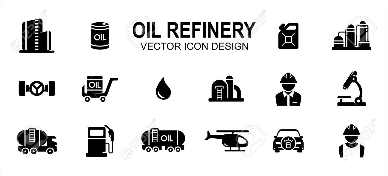Oil drilling refinery industry related vector icon user interface graphic design. Contains such icons as rig, tower, drill, driller, oil, tank, distillery, pump, truck, pipe, spurt, squirt, valve, - 169744596